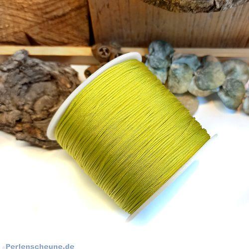 10 m abgemetert Perlschnur 1 mm gewachste Baumwolle moosgrün