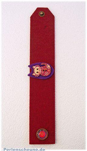 Filzarmband mit Holzkatze Glasdruckknopf