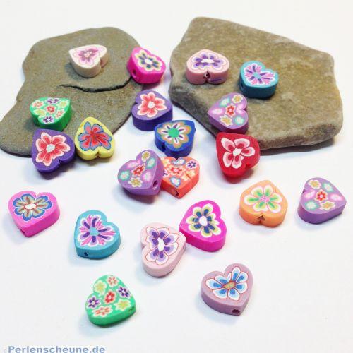 Perlenset 20 polymer clay Perlen Herzen Millefiori 10-11 mm