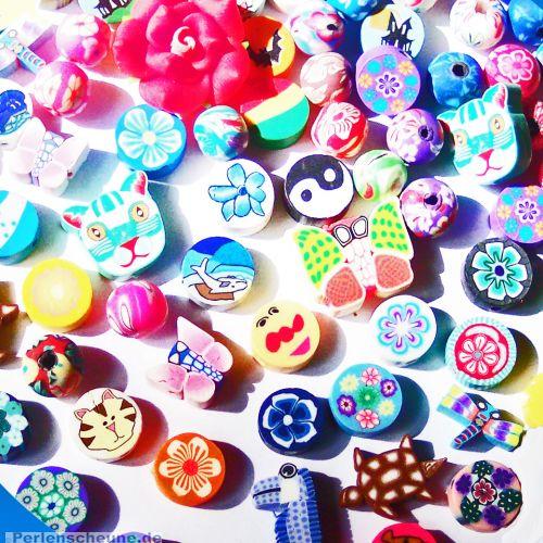 Perlenset mit 30 Kinderperlen Tiere Kugeln Herzen 6 - 22 mm