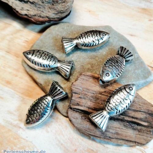 4 Fischperlen CCB Acryl 23 mm silberfarben antik
