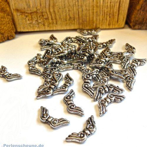 20 Acryl Engelflügel silber antik Flügelperlen