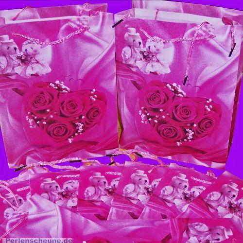 1 schöne rosa Geschenktasche für Hochzeit 20 x 25 cm