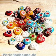 Glasherzen Set 25 bunte Chevronglasperlen 10 mm
