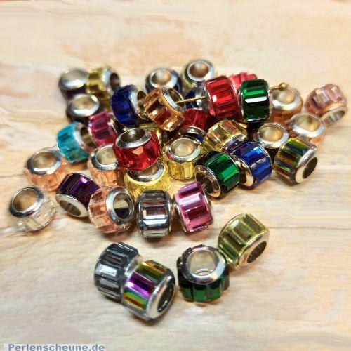 20 Glas Grosslochperlen für Modulketten geschliffen facettiert