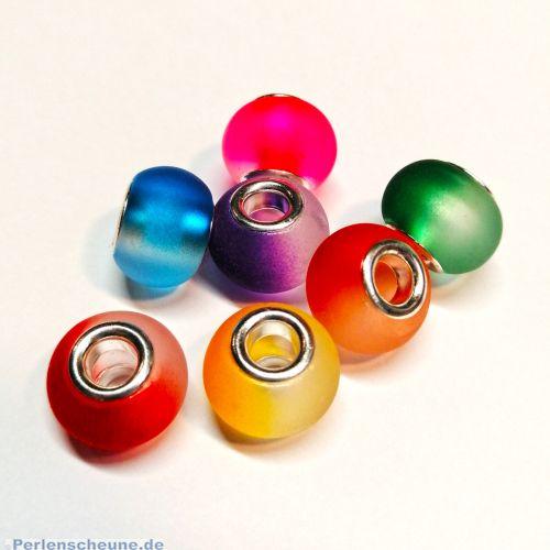 10 Glas Grosslochperlen für Modulketten gefrostet Farbverlauf