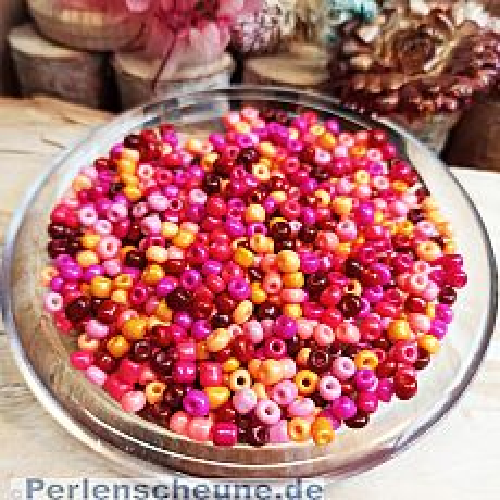 20 g Rocailles rot rosatönig Mix 3-4 mm