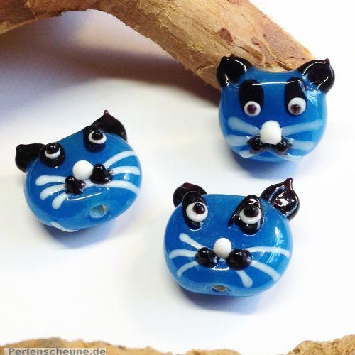 Katzenperlen Set mit 2 Glaslampworkperlen Katzen handmade blau opak 22 mm