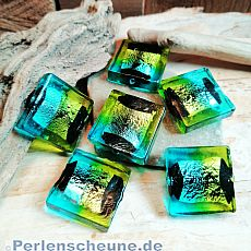 2 Glasperlen Lampwork Silbereinzug handmade blau grün schwarz 20 mm