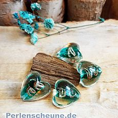 2 Glasperlen Herzen Lampwork handmade smaragd grün 20 mm