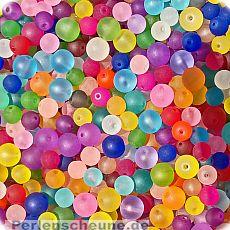 PerlenSet mit 30 Glasperlen gefrostet 6 mm Loch 1 mm