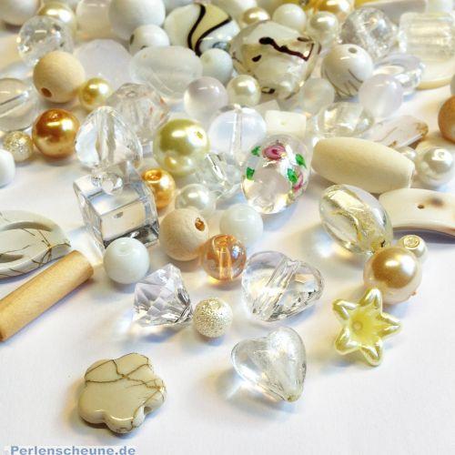 Perlenset über 100 Mix Perlen 80g Mischung creme weiß 6 - 30 mm