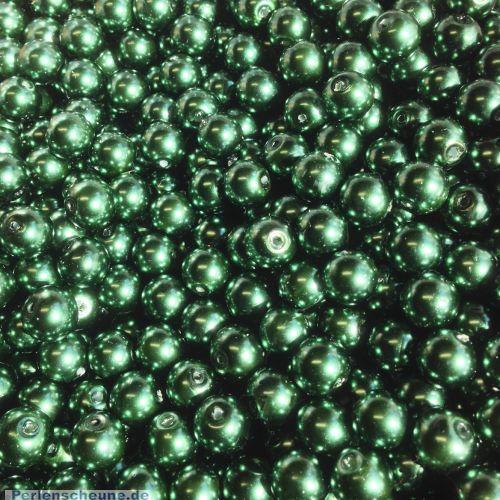 40 Glaswachsperlen Set dunkelgrün 8 mm