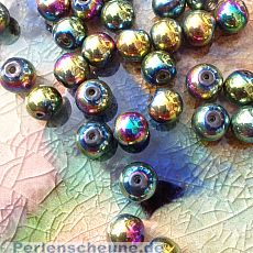 Perlenset 25 Glaswachsperlen irisierend metallisch 10 mm