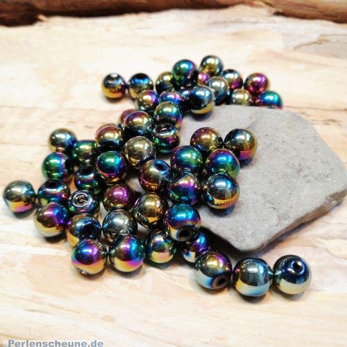 Perlenset 30 Glaswachsperlen irisierend metallisch 8 mm
