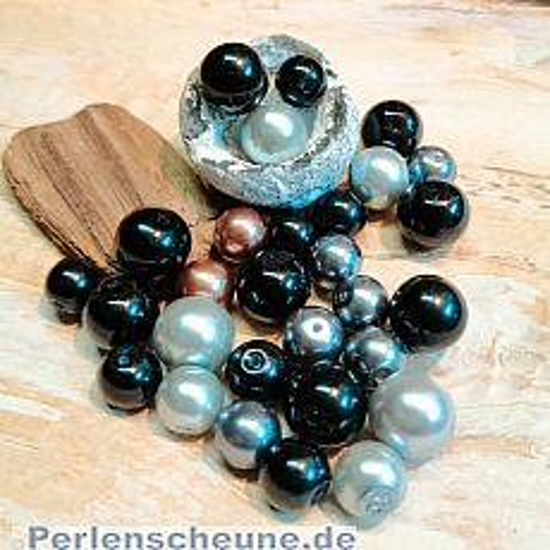 PerlenSet 100 schwarze Glaswachsperlen 6 - 10 mm 2 Anhänger