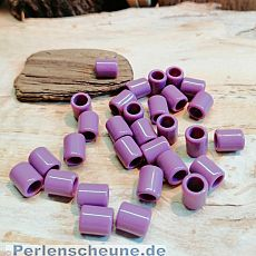 30 Grosslochperlen für Kinder 7,3 x 6 mm Acryl lila