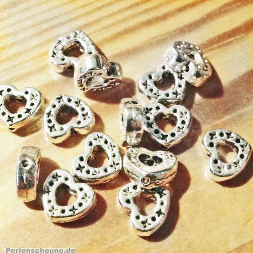 10 Metallspacer Herzperlen 8 x 8 mm