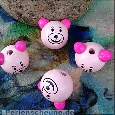 1 tolle Motivperle Teddy Kopf in rosa 30 mm