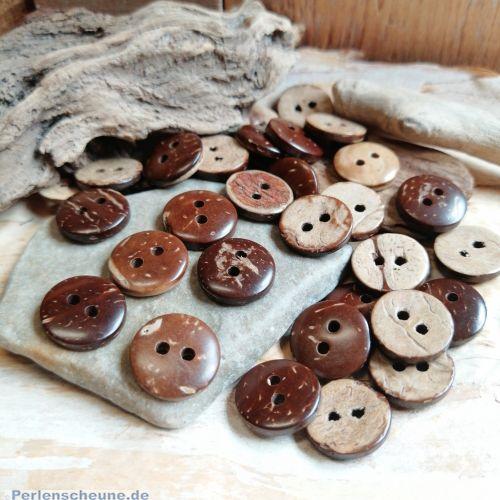 15 kleine Knöpfe aus Kokosnussholz 13 mm