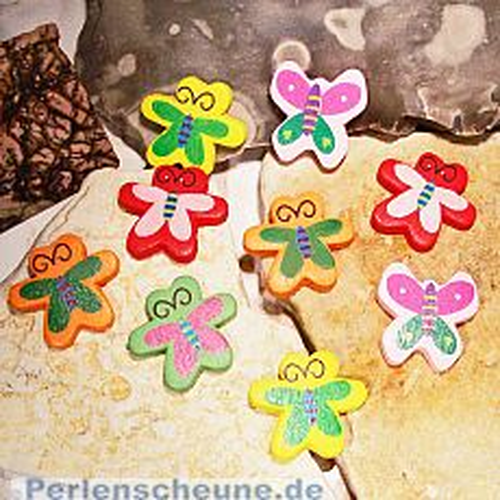 10 Motivperlen Holzperlen 26 mm Schmetterling Kinderperlen