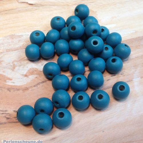 40 Hinoki Holzperlen in blau 10 mm Loch 2 mm