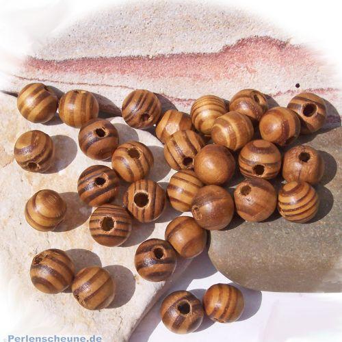 30 Holzperlen Kinderperlen natur braun gemasert 12 mm