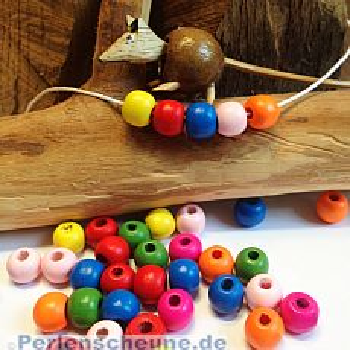 40 Holzperlen Mix für Kinder Kugeln bunt 10 mm