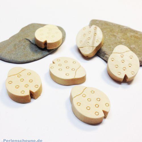 6 Holzperlen Marienkäfer Naturperlen hell unbehandelt 23 mm