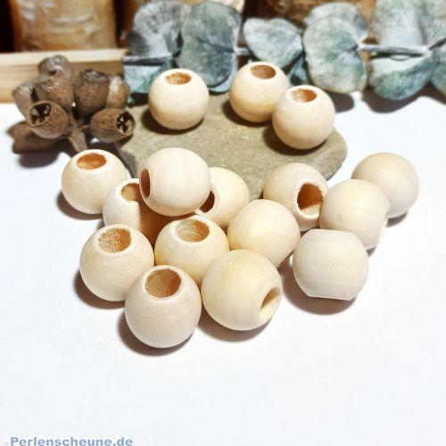 15 Grosslochperlen Module Naturholzperlen hell unbehandelt 14,5 mm