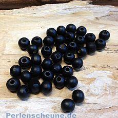 40 Hinoki Holzperlen in schwarz 7 mm Loch 2 mm