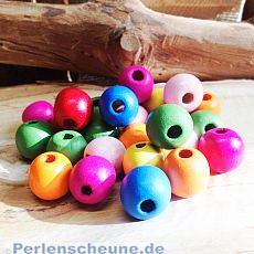 20 grosse Kinderperlen Holzperlen Kugeln bunt 17 mm Grossloch