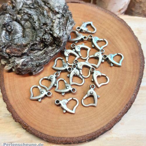 1 Metall Karabinerhaken Herzform 12 mm platinsilber