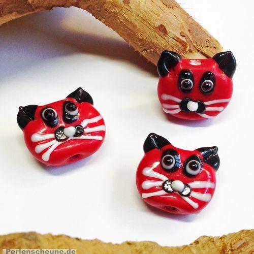 Katzenperlen Set mit 2 Glaslampworkperlen Katzen handmade rot 22 mm
