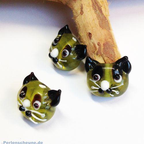 Glasperlen Katzenmotiv