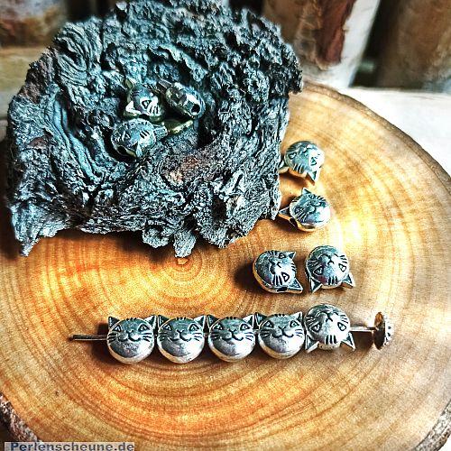 10 Metallspacer Perlen Katze 3 D silber antik 8,5 mm