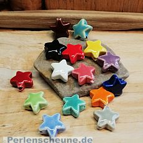 2 Keramikperlen handmade Sterne 23 mm