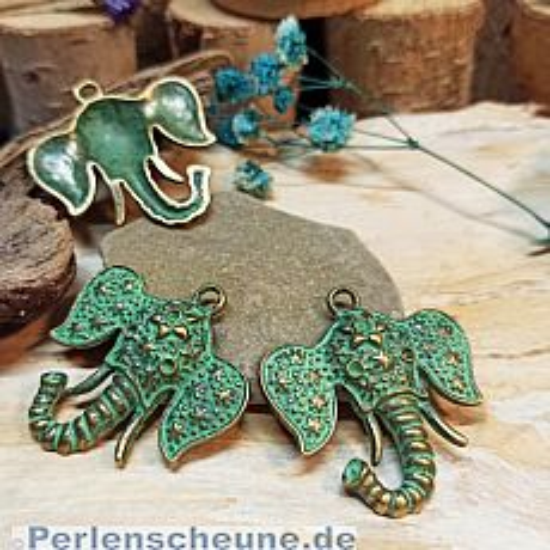 Kettenanhänger Elefant in bronze antik mit Patina 36 mm