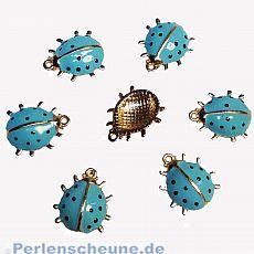 Kettenanhänger Marienkäfer in taubenblau gold