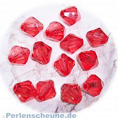 10 schöne große faceted Rhomben Kinder-Perlen 16 mm rot