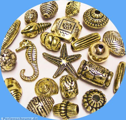20 schöne große Spacer Perlen gold 16 - 35 mm