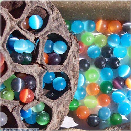 Perlenset mit 30 Glasperlen Katzenaugen 6 mm Loch 1 mm