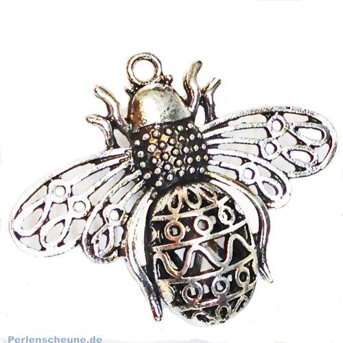 1 Kettenanhänger riesige Biene Metall silber antik 51 mm
