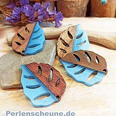 2 Blattanhänger für Ketten oder Ohranhänger aus Resin und Holz 37 mm türkis
