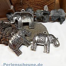 1 großer Ketten Anhänger Elefant Metall antik silber 60 mm