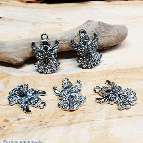 4 Kettenanhänger Engel Metall silber antik 20 mm