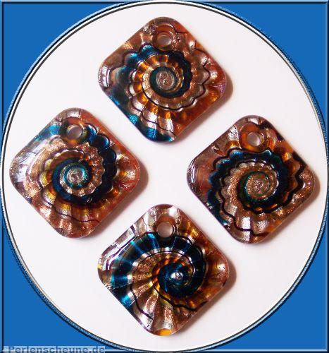 1 großer Lampwork Glasanhänger 50 mm Spirale blau