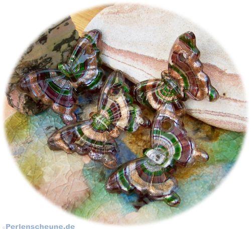 1 großer Lampwork Glasanhänger Schmetterling lila 54 mm