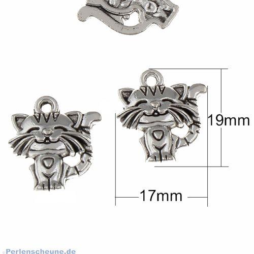 1 Kettenanhänger Katze Metall silber antik 19 mm