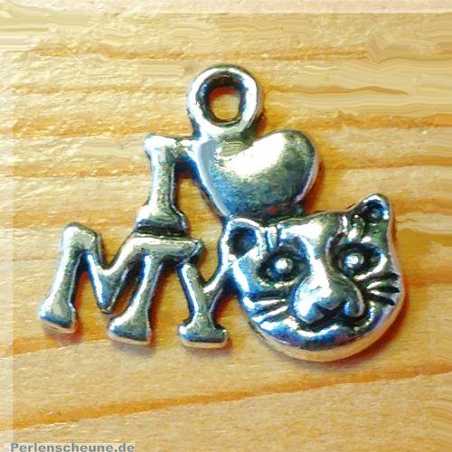 1 Kettenanhänger Katzenliebe Metall silber antik 17 mm
